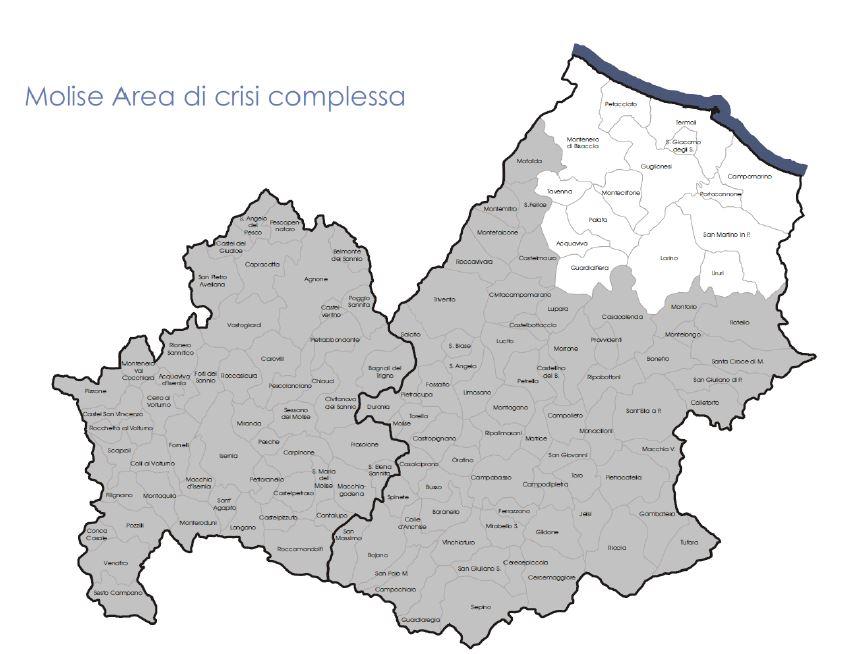 Immagini Della Cartina Del Molise.Area Di Crisi Ecco La Mappa Delle Agevolazioni Primopiano Molise