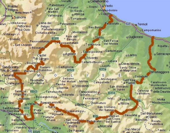 Cartina Del Molise Geografica.Mappa Vuota Molise Primopiano Molise