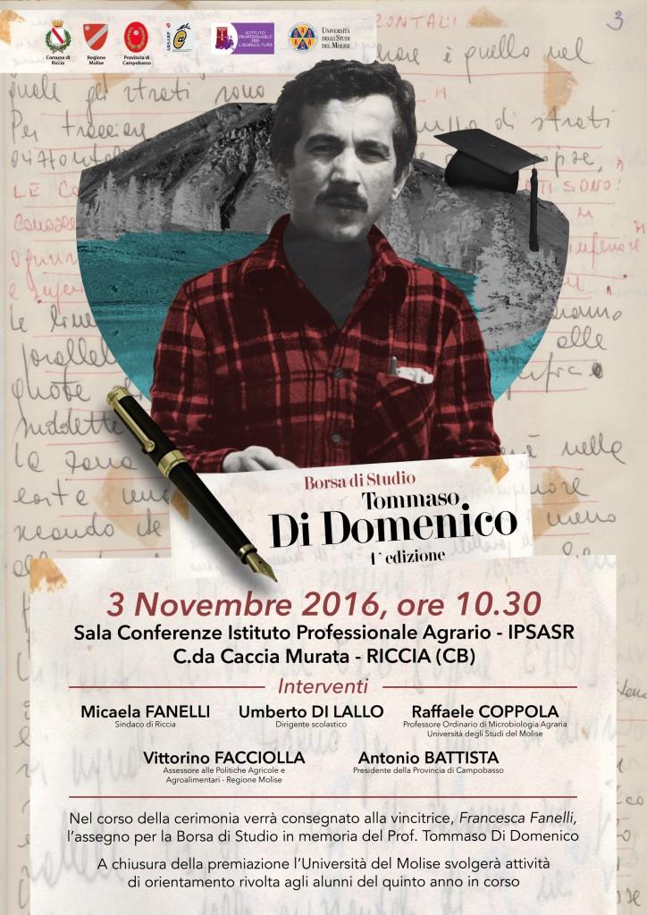 Riccia, domani la cerimonia per la borsa di studio 'Tommaso Di Domenico'