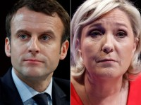A combination picture shows portraits of the candidates who will run in the second round in the 2017 French presidential election, Emmanuel Macron (L), head of the political movement En Marche !, or Onwards !, and Marine Le Pen, French National Front (FN) political party leader.  Pictures taken March 11, 2017 (R) and February 21, 2017 (L).  REUTERS/Christian Hartmann - RTS13KJY