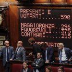 La Camera ha approvato il Rosatellum 2.0 con 375 sì 215 no, Roma, 12 ottobre 2017.  ANSA/GIUSEPPE LAMI