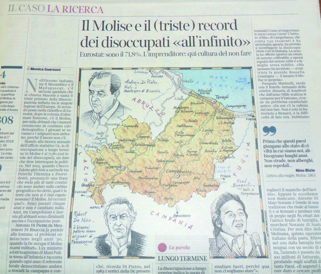 In Molise si resta senza lavoro a vita: il dramma sul Corriere della Sera