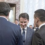 Italian Prime Minister Giuseppe Conte (C) with his vice Prime Ministers Luigi Di Maio (R) and Matteo Salvini (L), prior receiving from the outgoing Prime Minister Paolo Gentiloni the small silver bell to open the First Council of Minister at Chigi Palace in Rome, 1 Jun 2018. ANSA/ANGELO CARCONI