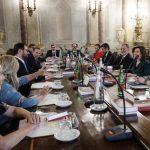 Un momento della riunione dei capigruppo del Senato, Roma 12 agosto 2019. ANSA/GIUSEPPE LAMI