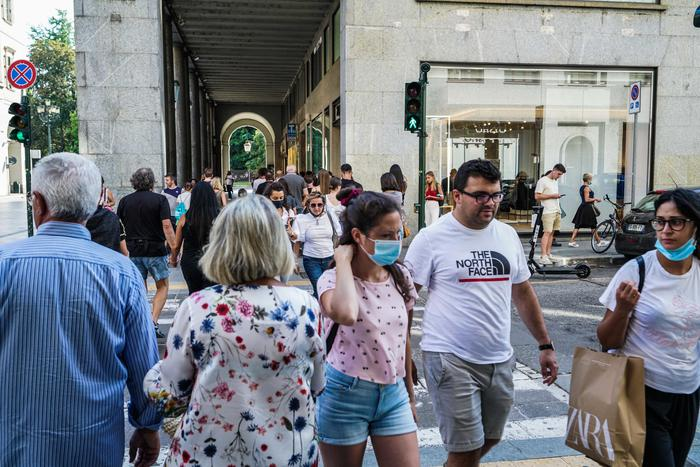 People walking in via Roma in Turin during phase 3 of the Covid-19 emergency, Turin, Italy, 06 September 2020.  ANSA / Tino Romano
