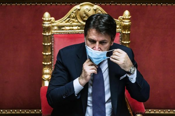 Italian Prime Minister Giuseppe Conte during the communications to the Senate on the epidemiological situation and on any further measures to deal with the emergency of the Coronavirus Covid-19 pandemic, Rome, Italy, 02 November 2020. ANSA/ANGELO CARCONI