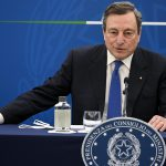 Italian Prime Minister, Mario Draghi, attends a press conference on plan to fight Coronavirus Covid-19 pandemic, Rome, Italy, 08 April 2021.  ANSA/RICCARDO ANTIMIANI