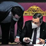 Italian Prime Minister Mario Draghi (R), speaks with leader of Lega, Matteo Salvini, during the debate on Recovery Plan at the Senate in Rome, Italy, 27 April 2021.  MAURIZIO BRAMBATTI/ANSA